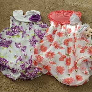 2 baby essentials spring rompers.